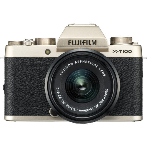 Fujifilm X-T100 Mirrorless Camera & XC 15-45mm Lens - Champagne Gold