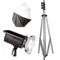 "Photogenic Two Eclipse 45"" Umbrellas & Mounts with 8' Air-Cushioned Light Stands and Kit Case - Lighting-Studio - Photogenic - Helix Camera"