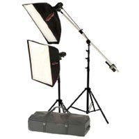 "Photogenic StudioMax III AC Portrait Soft Box Kit, with 2 AKC 320 Constant-Color Monolights, 1 12x36"" Soft Box, 1 36x36"" Softbox, HD Stands & Case with Wheels."