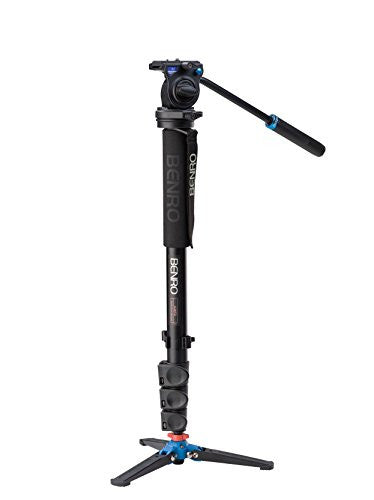 Benro A38FDS2 Monopod with 3-Leg Locking Base and S2 Head, 4 Leg Sections, Flip Lock Leg Release (Black)
