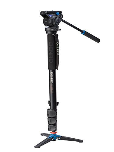 Benro A48FDS4 Monopod with 3-Leg Locking Base and S4 Head, 4 Leg Sections, Flip Lock Leg Release (Black)