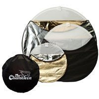 "Photogenic Chameleon 22"" 5-in-1 Collapsible Disc Reflector, Translucent, White, Black, Silver, Gold. (CH22)"