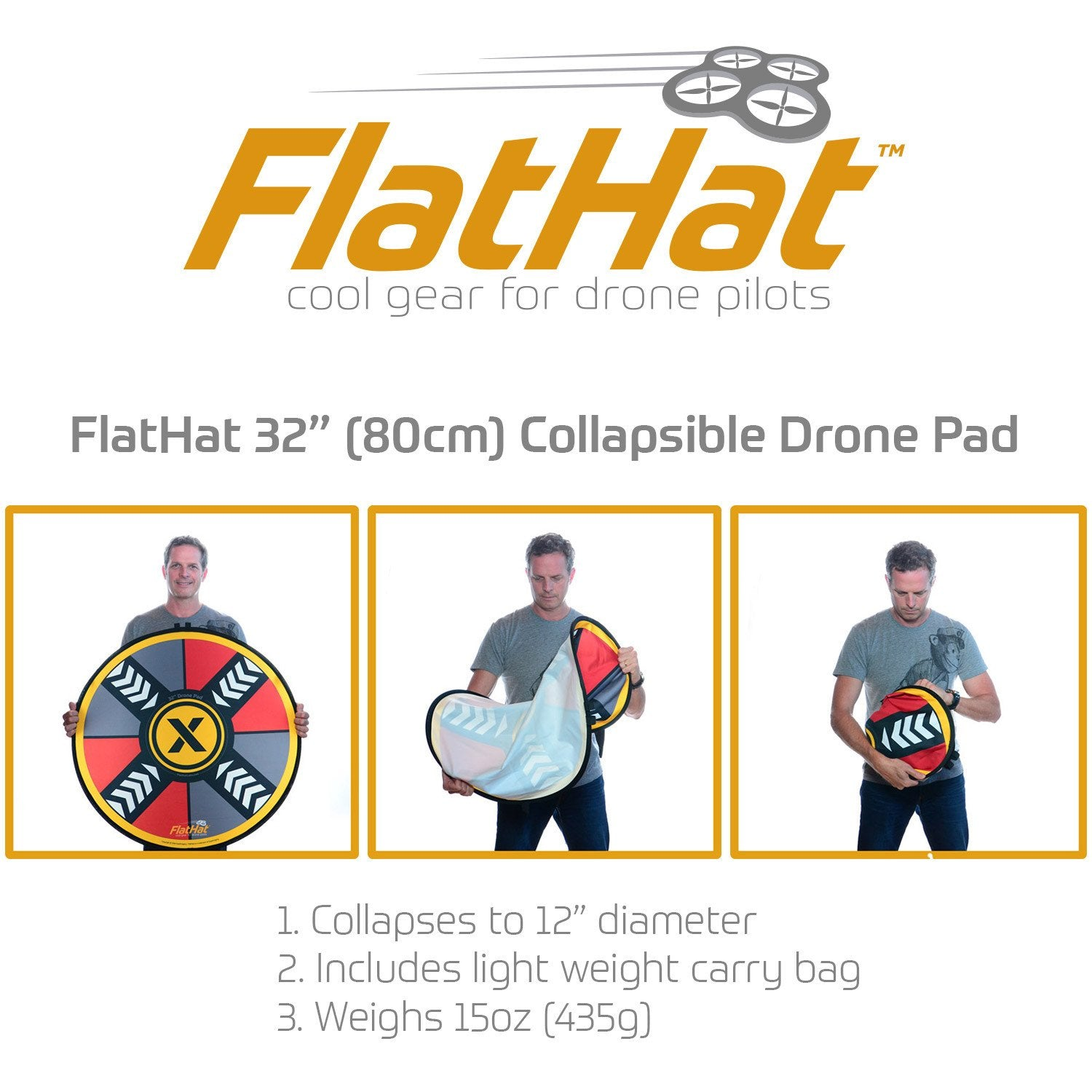 "FlatHat 32"" (80cm) Collapsible Drone Pad - Red Gold"