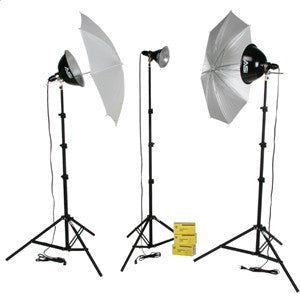 Smith Victor KT750U 3-Light 750-watt Thrifty basic kit w/ umbrellas (401431)