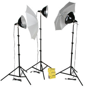 Smith Victor KT1500U 3-Light 1500-watt Thrifty intermediate kit w/ umbrellas (401433)