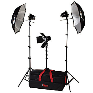 Smith-Victor K43 3- Light 1800 Watt Spot Lighting Kit with Umbrellas