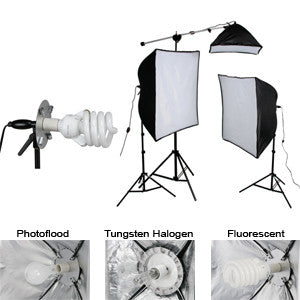 Smith Victor KSB-1250 3-Light 1250 watt Economy SoftBox Light  Kit with Mini-Boom (408087) - Lighting-Studio - Smith-Victor - Helix Camera