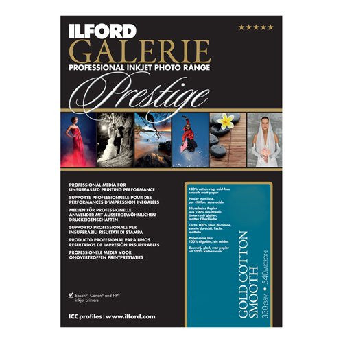 Ilford 2002388 13 X 19 Inches GALERIE Prestige Gold Cotton Smooth, 25 Sheet Pack (Black) - Print-Scan-Present - Ilford - Helix Camera