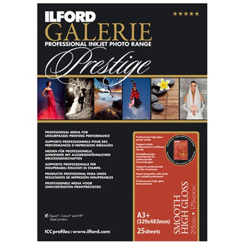 Ilford 2001759 GPSHG7US GALERIE 13 x 19 Inches Prestige Smooth High Gloss 25 Count Photo Inkjet (Black)