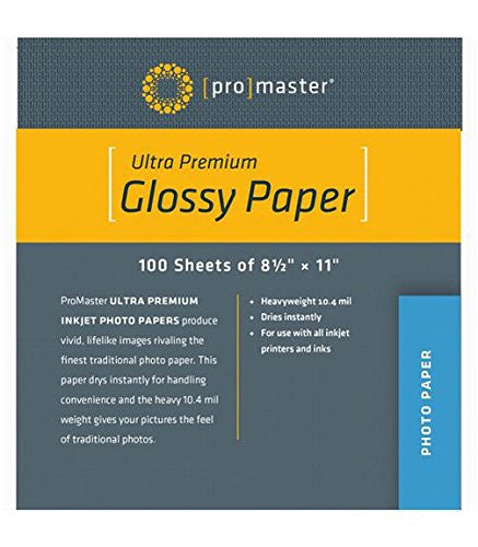 "ProMaster Ultra Premium Glossy Paper - 8 1/2""x11"" - 100 Sheets - Print-Scan-Present - ProMaster - Helix Camera"