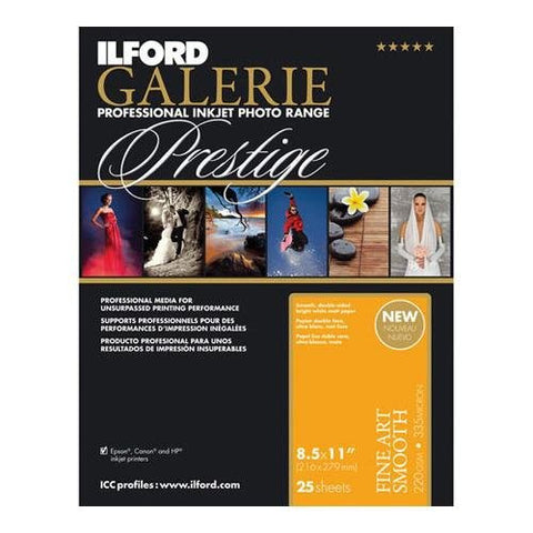 Ilford 2002402 8.5 X 11 Inches GALERIE Prestige Fine Art Smooth, 25 Sheet Pack (Black) - Print-Scan-Present - Ilford - Helix Camera