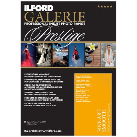 Ilford 2002404 13 X 19 Inches GALERIE Prestige Fine Art Smooth, 25 Sheet Pack (Black) - Print-Scan-Present - Ilford - Helix Camera