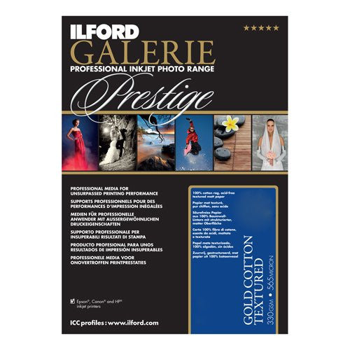 Ilford 2002396 13 X 19 Inches GALERIE Prestige Gold Cotton Textured, 25 Sheet Pack (Black)