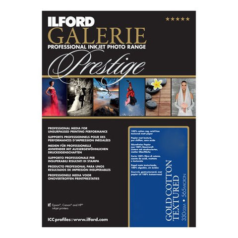 Ilford 2002396 13 X 19 Inches GALERIE Prestige Gold Cotton Textured, 25 Sheet Pack (Black) - Print-Scan-Present - Ilford - Helix Camera
