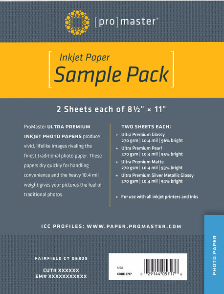 "ProMaster Ultra Premium Photo Paper - 8.5""x11"" 8 Sheet Sample Pack - Print-Scan-Present - ProMaster - Helix Camera"