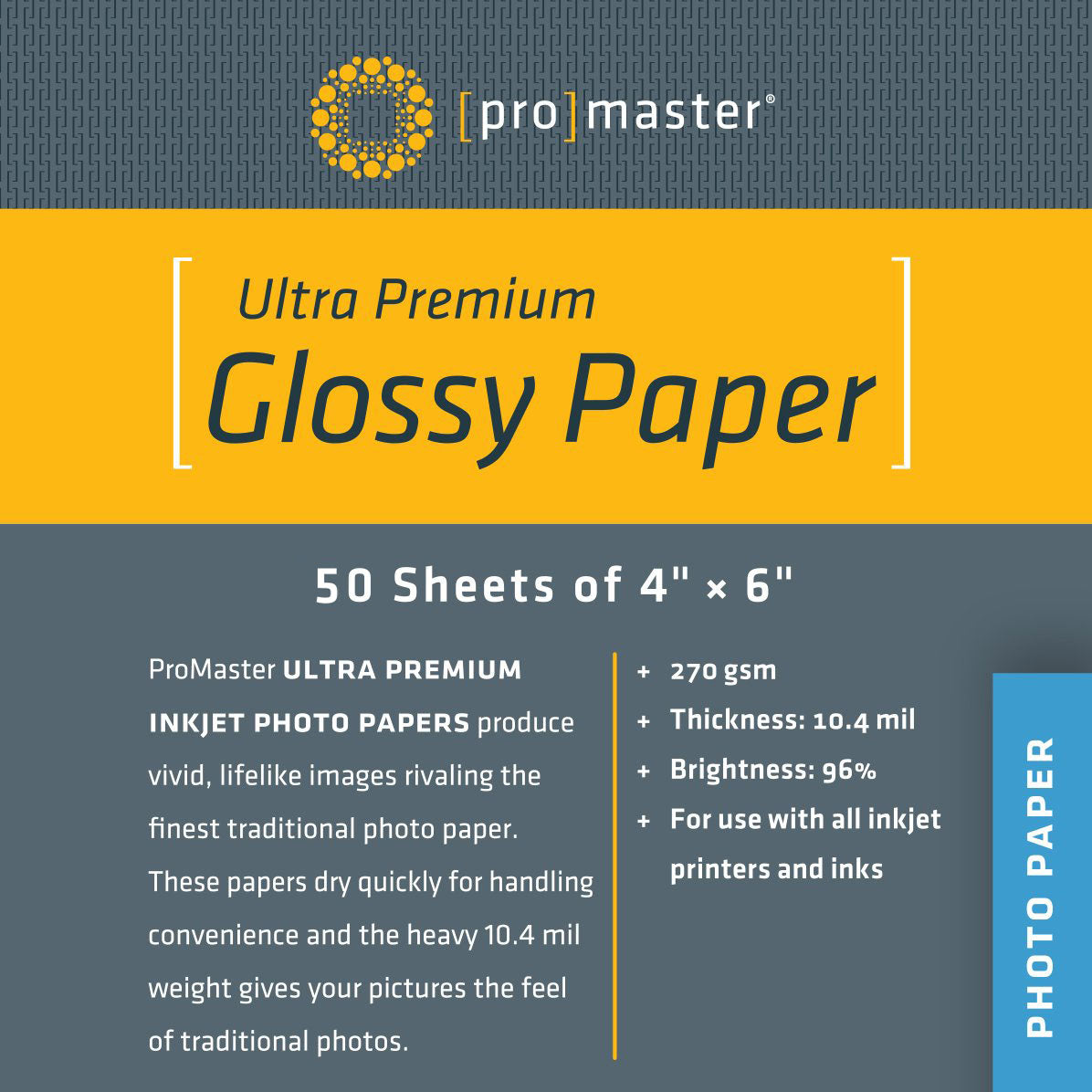 "ProMaster Ultra Premium Glossy Paper - 4""x6"" - 50 Sheets - Print-Scan-Present - ProMaster - Helix Camera"