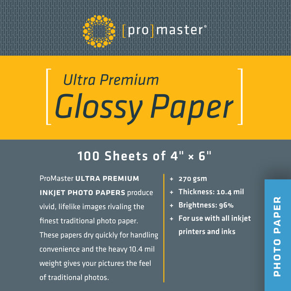 "ProMaster Ultra Premium Glossy Paper - 4""x6"" - 100 Sheets - Print-Scan-Present - ProMaster - Helix Camera"