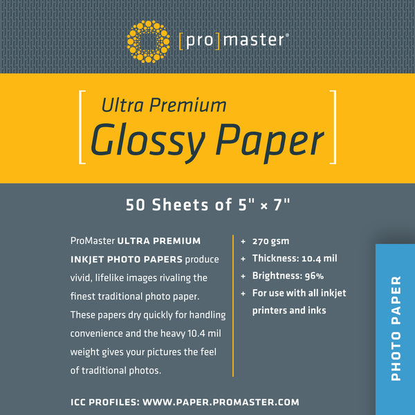 "ProMaster Ultra Premium Glossy Paper - 5""x7"" - 50 Sheets - Print-Scan-Present - ProMaster - Helix Camera"