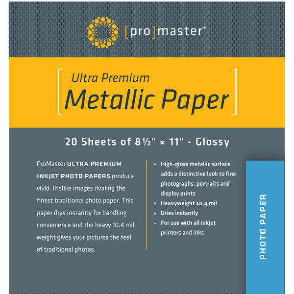 "ProMaster Ultra Premium Silver Metallic Paper - 8 1/2""x11"" - 20 Sheets - Print-Scan-Present - ProMaster - Helix Camera"