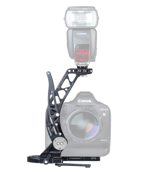 ProMediaGear BBGv2 - Boomerang Flash Bracket for taller bodies or cameras w/ grip for Weddings and Portraits for Canon, Nikon, Sony, Pentax, Olympus