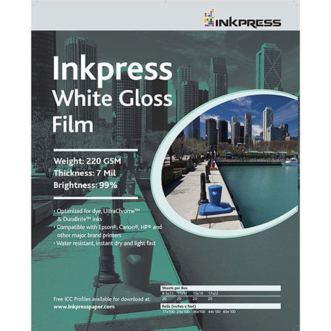 Inkpress 13x19 White Gloss Film 7mil 215GSM 92% Bright 20 Sheets (WGF131920)