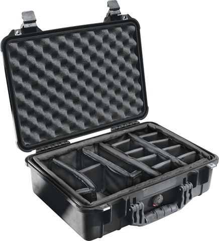 Pelican 1500 Protector Case with padded dividers - Silver