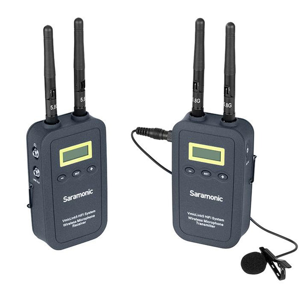 Saramonic VmicLink5 HiFi RX5+TX5 5.8GHz Wireless Lavalier System with Portable 3-Channel Camera-Mountable Receiver