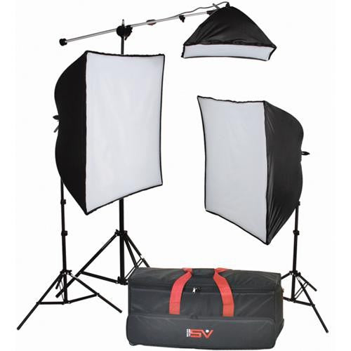 Smith Victor KSB-1250F 3-Light 700-watt Fluorescent SoftBox Light  Kit w/ Mini-Boom (408105) - Lighting-Studio - Smith-Victor - Helix Camera