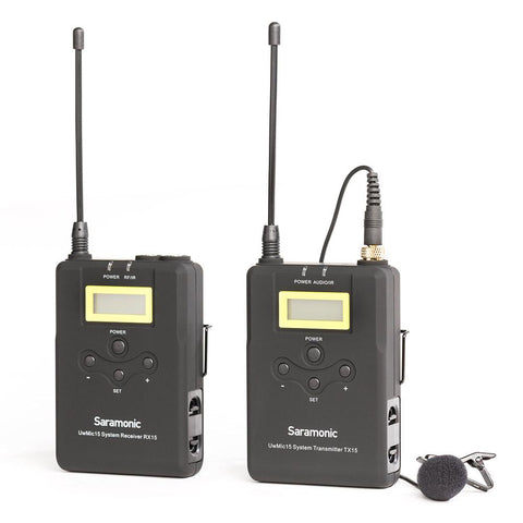 SARAMONIC UWMIC15 16-CHANNEL UHF WIRELESS LAVALIER MICROPHONE SYSTEM WITH PORTABLE CAMERA-MOUNTABLE WIRELESS RECEIVER