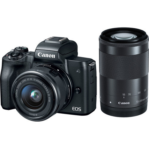 Canon EOS M50 Mirrorless Digital Camera with 15-45mm & 55-200mm Lens Kit