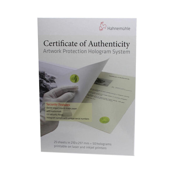 Hahnemuhle Certificate Of Authenticity - (A4) 25 sheet packs 10640397 - Print-Scan-Present - Hahnemuhle - Helix Camera