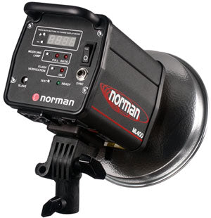 Norman ML600 600 watt-second monolight reflector, FQ8 FT, modeling lamp, sync cord