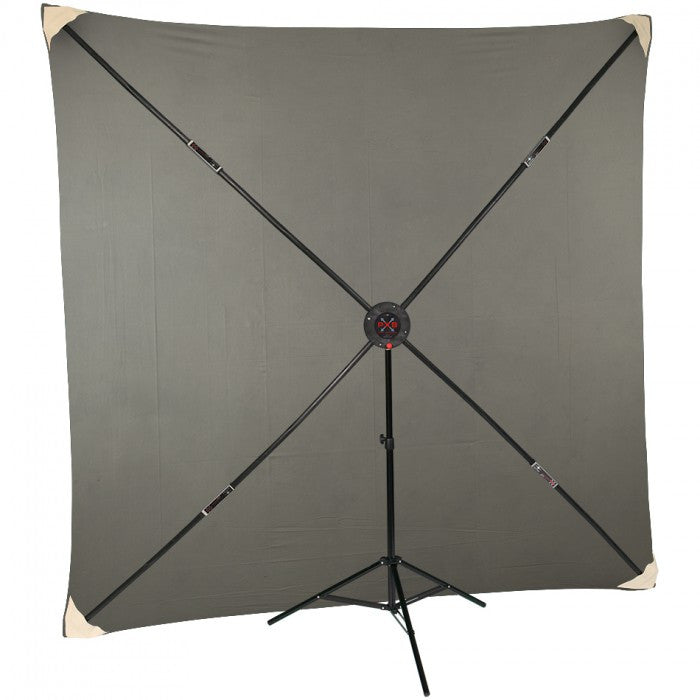 Studio- Assets 8 x 8' PXB Portable X-frame Background System with Light Grey Muslin
