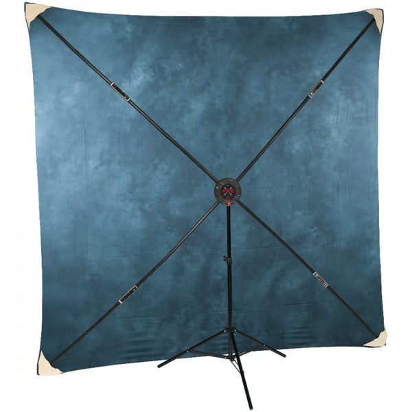 Studio-Assets 8 x 8' PXB Portable X-frame Background System with Executive Blue Muslin - Lighting-Studio - Studio-Assets - Helix Camera