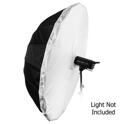 "Fotodiox Pro 16-Rib, 60"" Black and Silver Reflective Parabolic Umbrella with Neutral White Diffusion Cover"