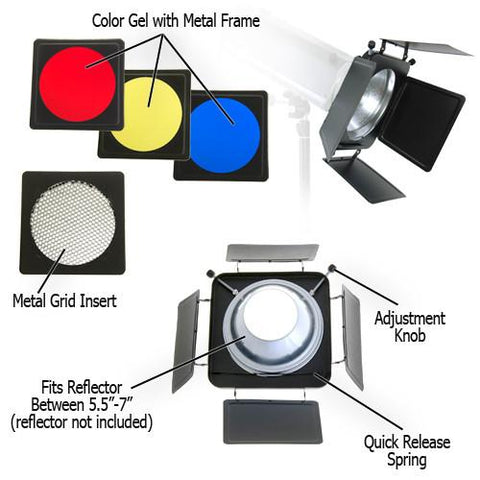 "Fotodiox Universal Barn Door Barndoor Kit with Honeycomb grid (45 Degree), Diffusion and Color Gels for Strobe Light with 5.5"" - 7"" Reflector"