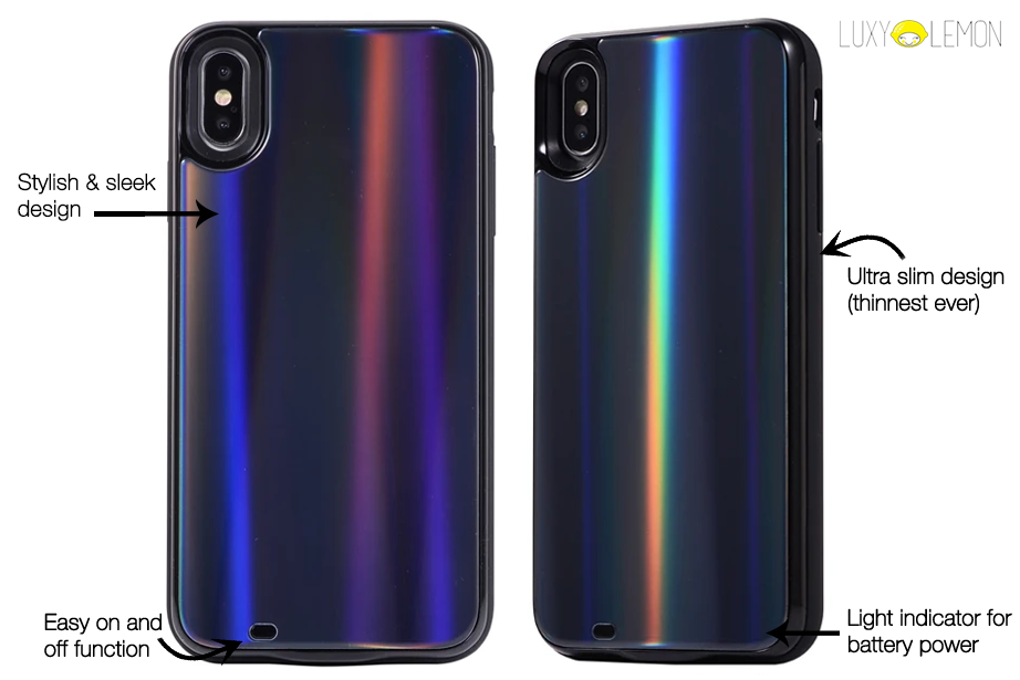 Black Laser Holo Glass Battery Power Phone Case
