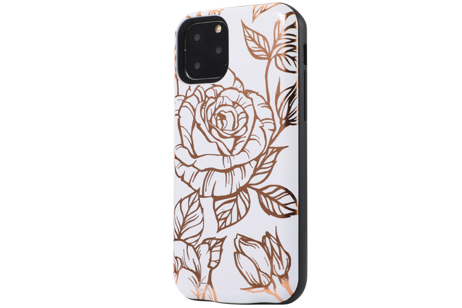 White & Gold Metallic Floral Battery Power Phone Case