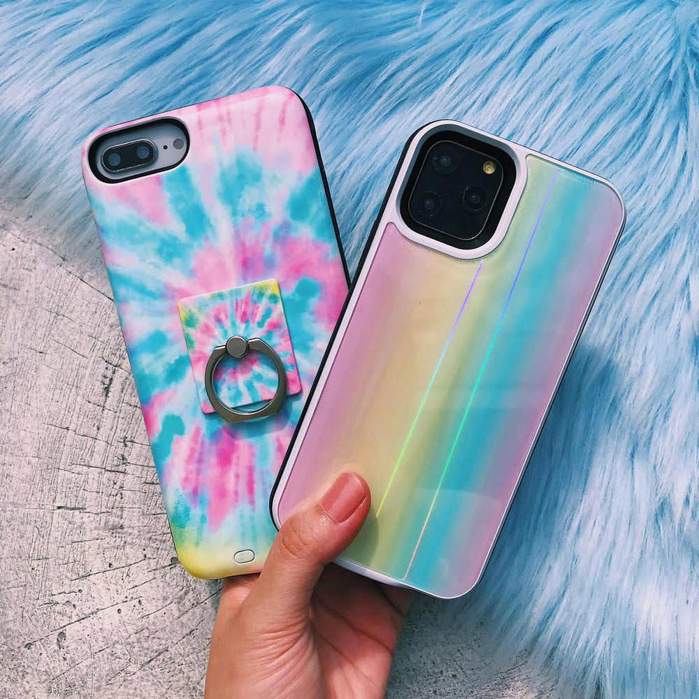Rainbow Laser Holo Glass Battery Power Phone Case