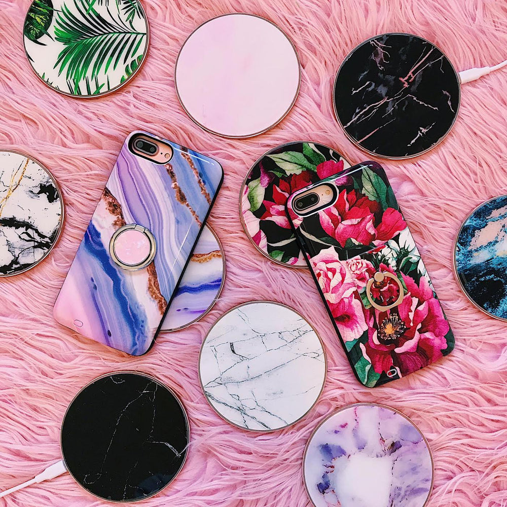 Pink Marble Wireless Charging Pad