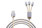 Gray & White 3-in-1 Charging Cable