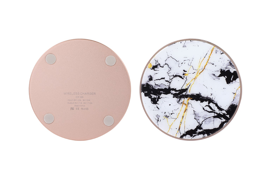 White Cracked Marble Wireless Charging Pad