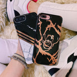 Black & Gold Metallic Marble Battery Power Phone Case