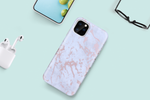 White & Rose Gold Metallic Brushed Marble Case