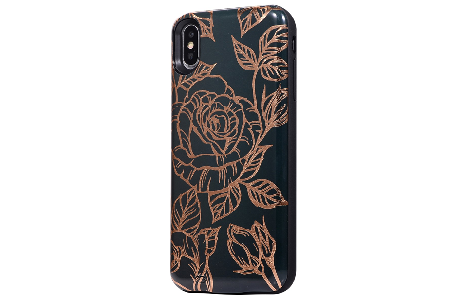 Black & Gold Metallic Floral Battery Power Phone Case
