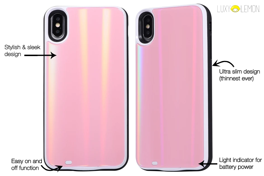 Pink Laser Holo Glass Battery Case