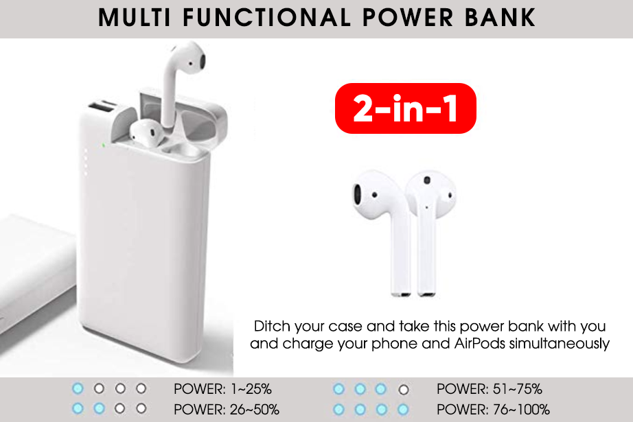 2-in-1 AirPod & Power Bank Charger