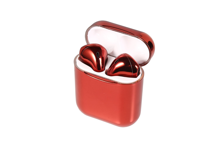 Red Metallic Wireless Bluetooth Earbuds