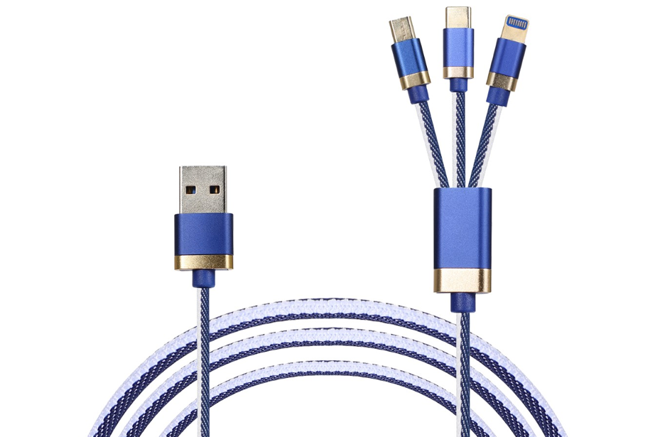 Blue & White 3-in-1 Charging Cable