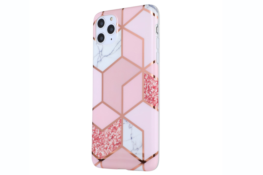 Glass Shield & Phone Case Set - Geo Metallic Marble